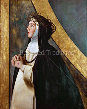 Nun praying and wearing crown of thorns