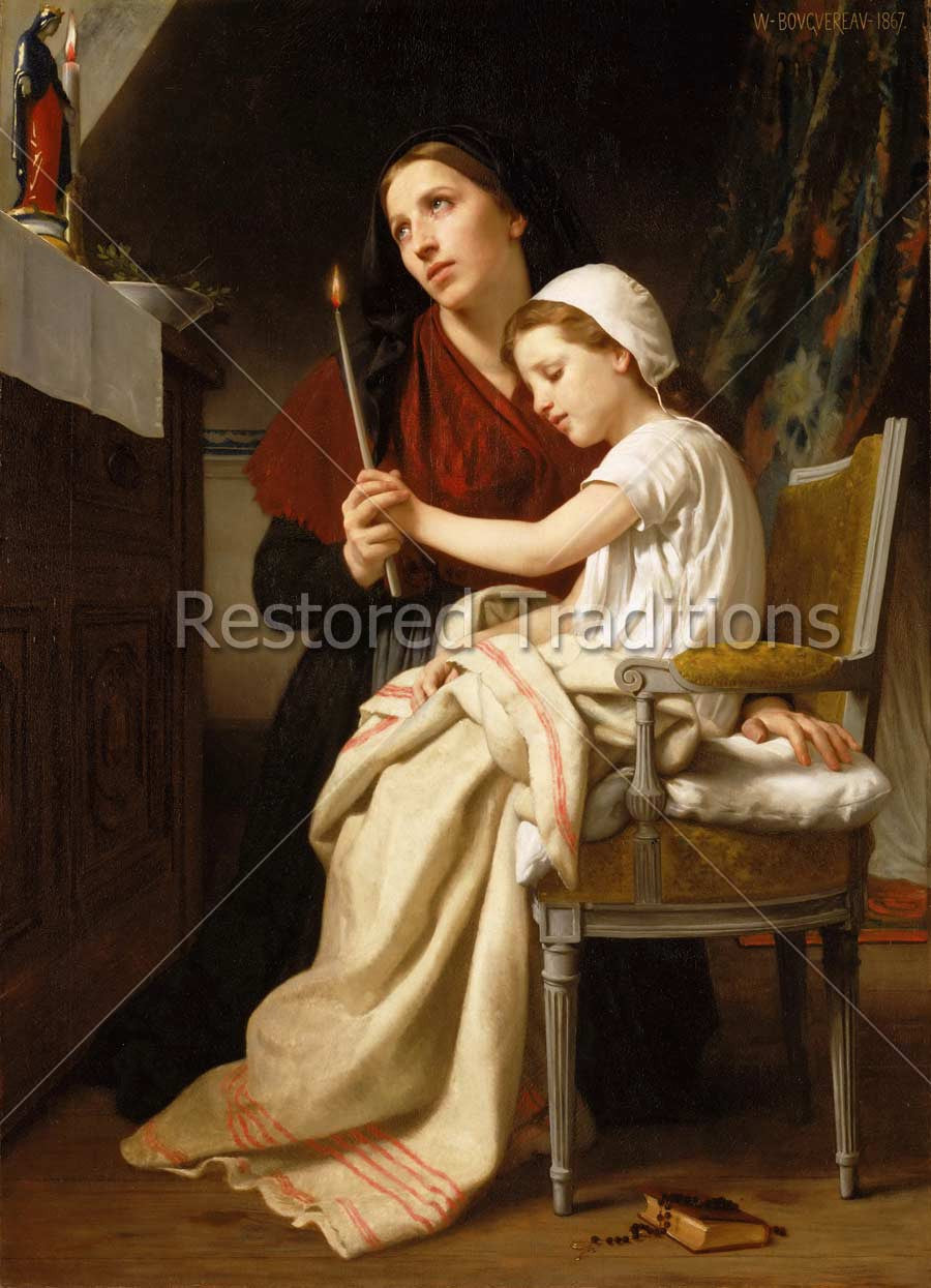 Mother and Daughter Pray to Virgin Mary
