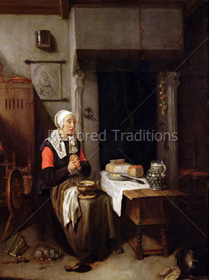Woman Praying Grace Before Meal