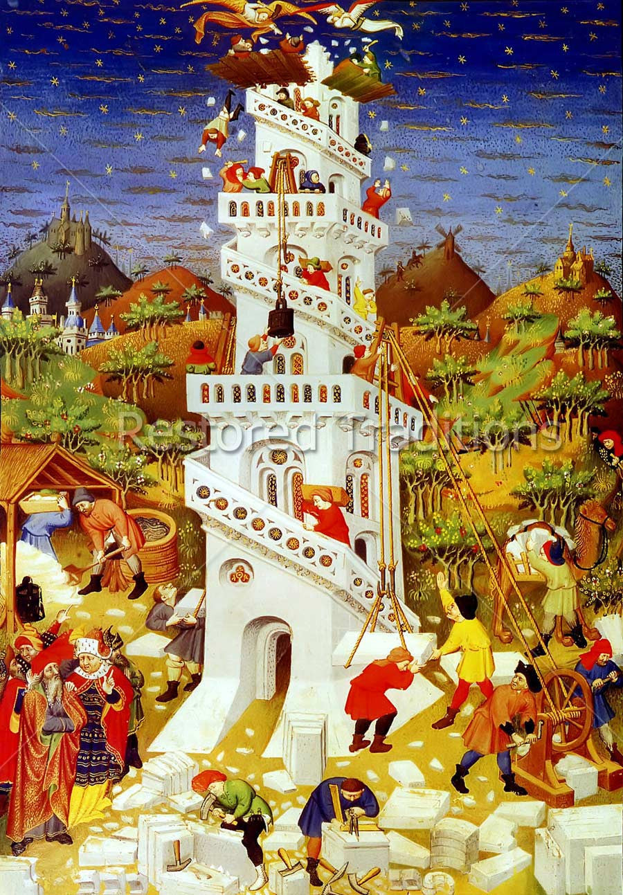 Illuminated Manuscript: Tower of Babel