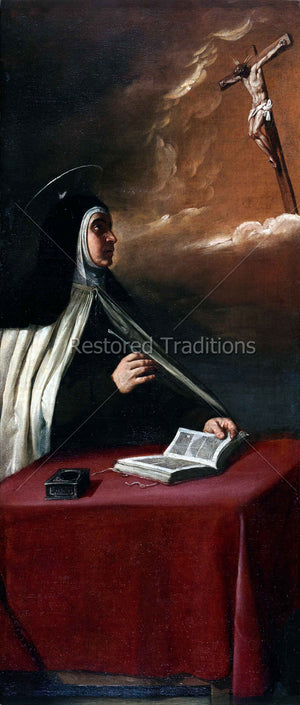 Nun looking at cross in the clouds