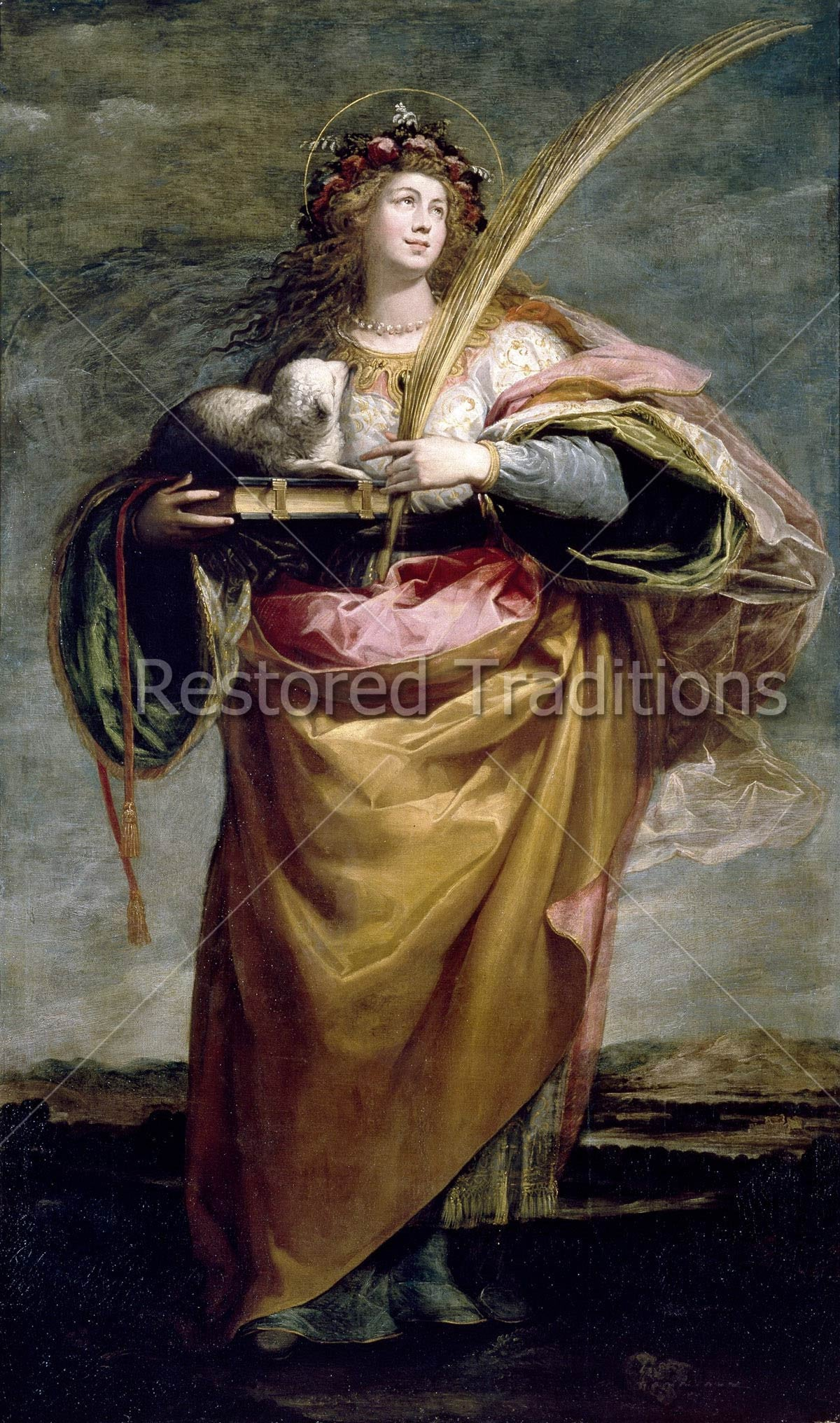 Download Image File Of Saint Agnes Holding A White Lamb