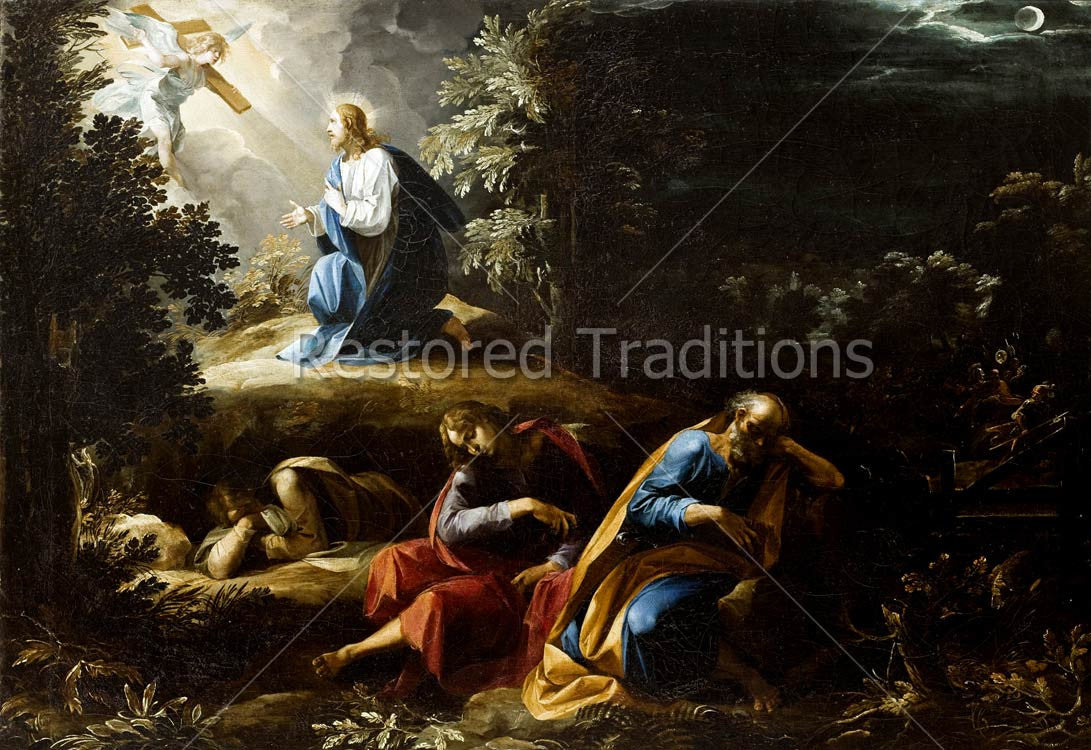 Catholic Art Jesus in Gethsemane Suffering for Mankind High