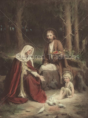Holy Family in Forest With Birds