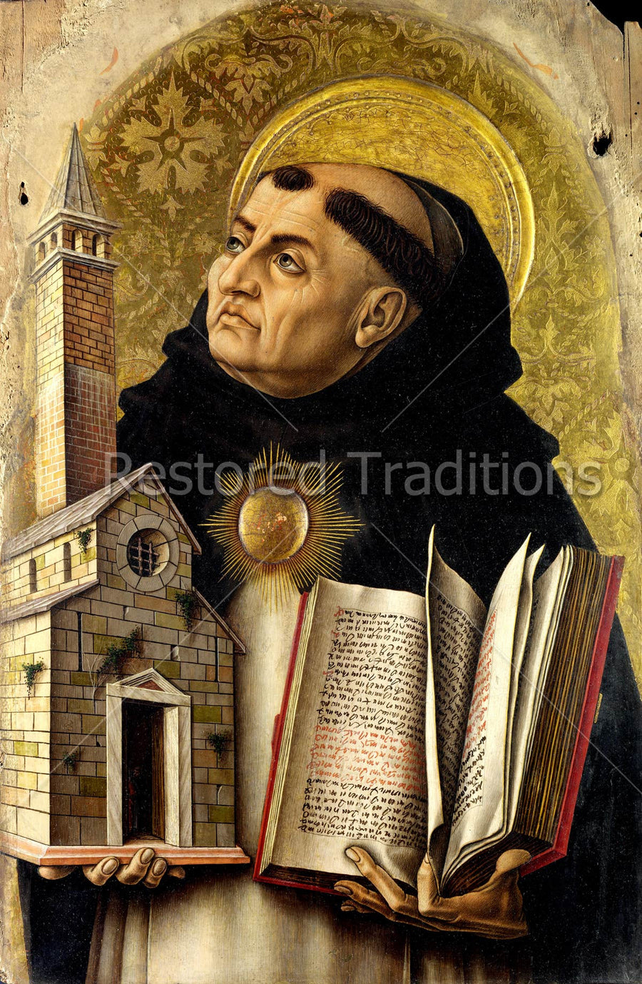 Dominican saint holding church and book