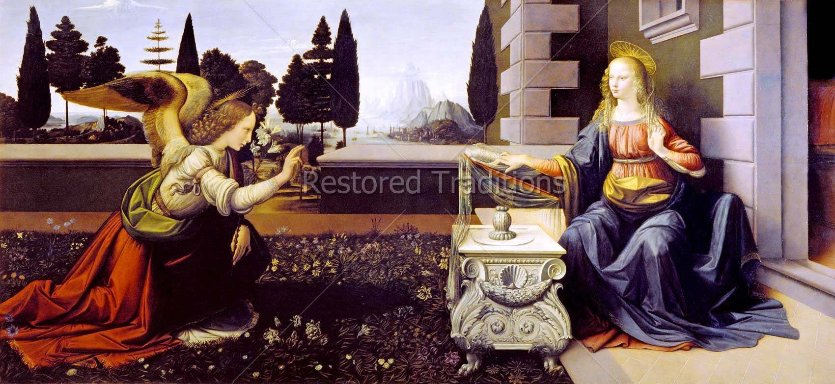 High Resolution Religious Image   The Annunciation, by Da Vinci - Restored  Traditions