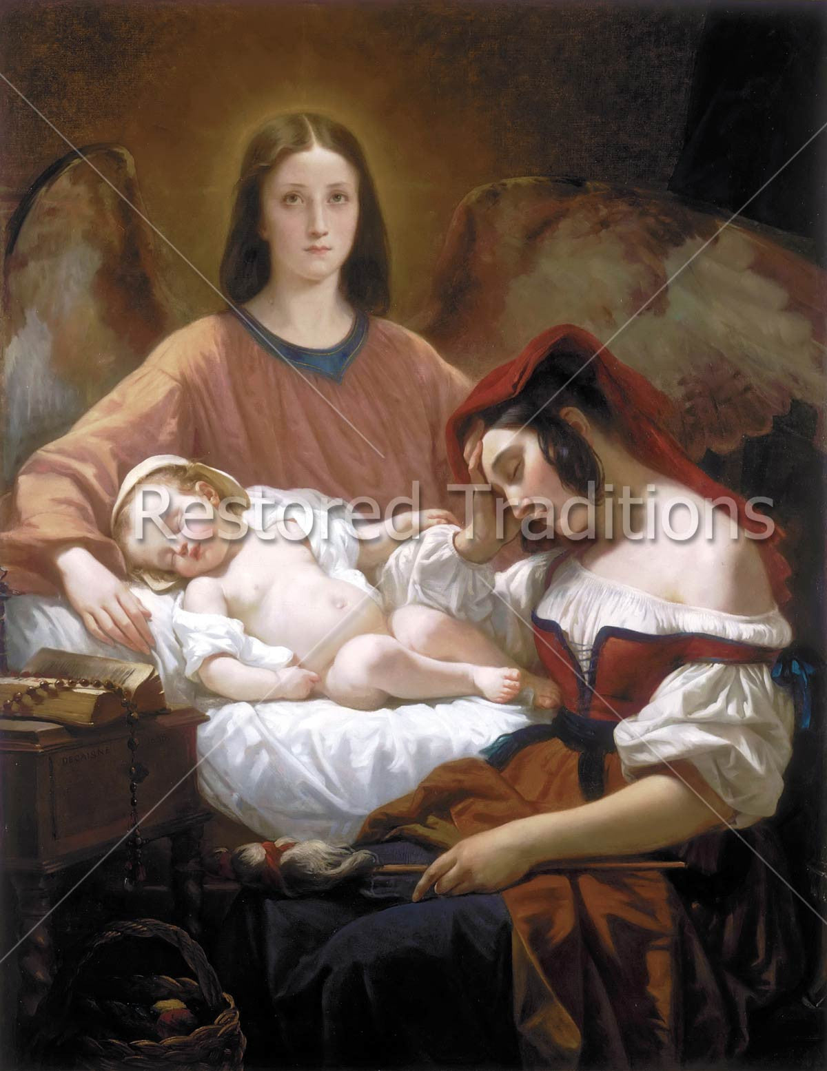 Guardian Angel Watches Over Mother And Child High Res Art Image