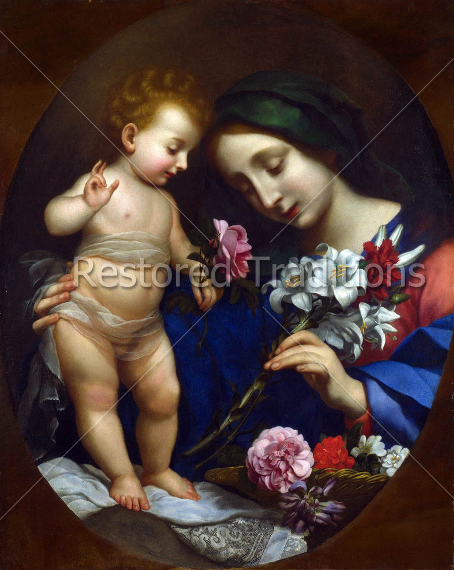 Mary Holds Baby Jesus and Flowers