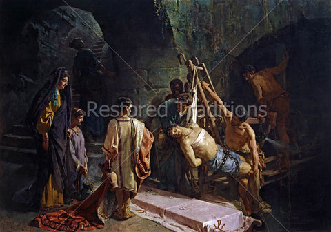 Burying Christian Martyr in Catacombs