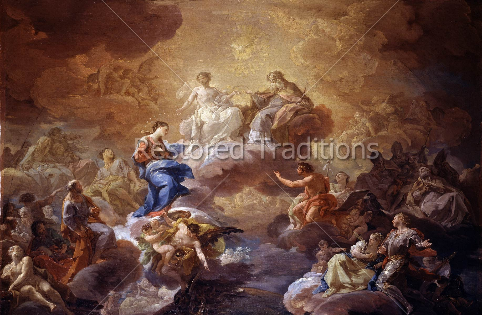 Image File—Holy Trinity Honors Virgin Mary in Heaven, Artist Giaquinto