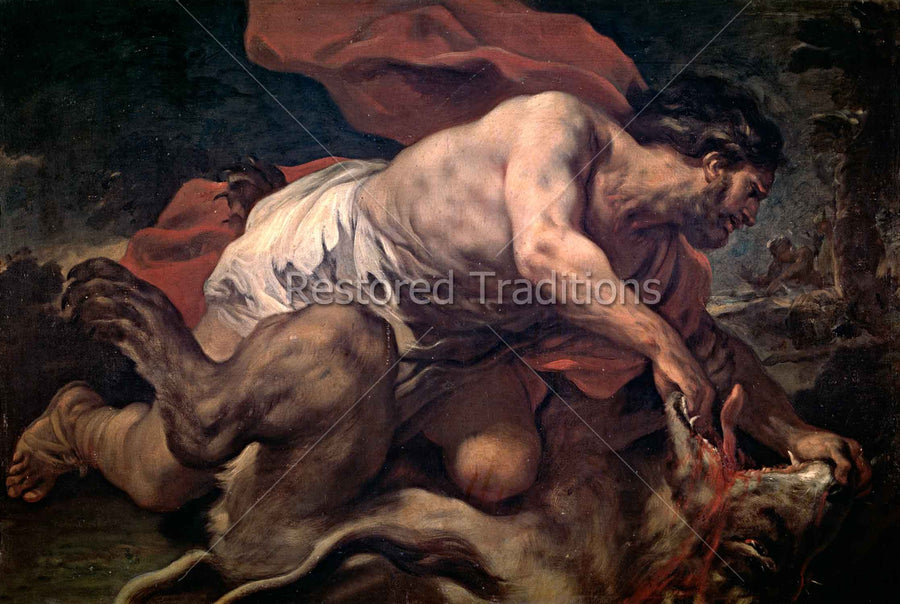 Samson kills lion