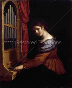 St Cecilia Playing Organ