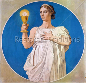 Woman in White Holding Up a Golden Chalice With a Host