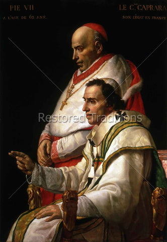 Portrait of Pope Pius VII and Cardinal Caprara – David