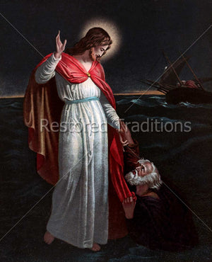 Our Lord saves drowning apostle