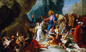 Christ brings Lazarus back to life
