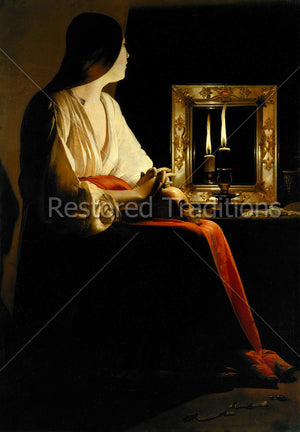 Repentant Woman Praying With Skull