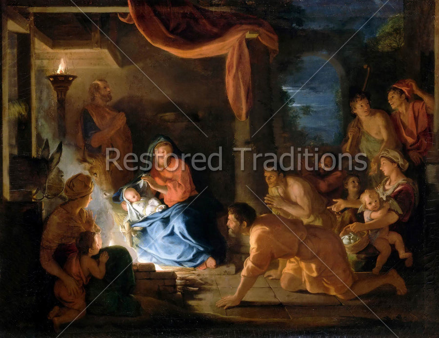 shepherds gathered around Infant Jesus