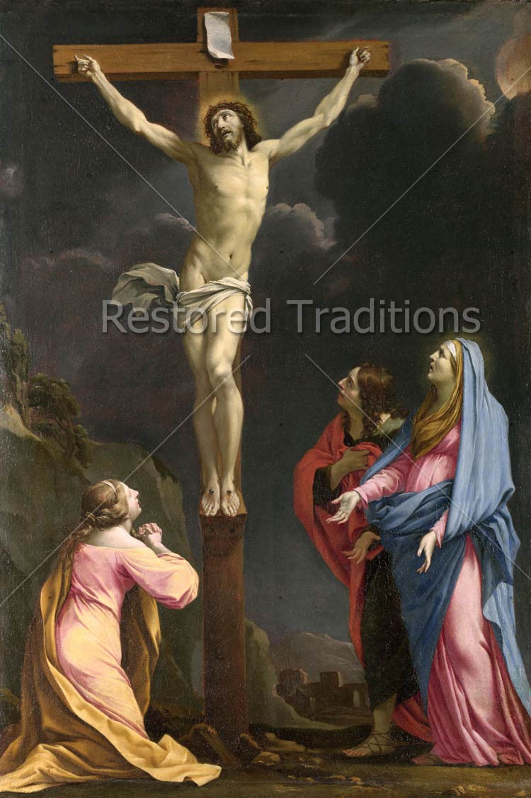 Stock Art Image Christ On The Cross Lamented By Madonna And Saints