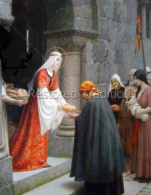 Saintly queen giving bread to poor