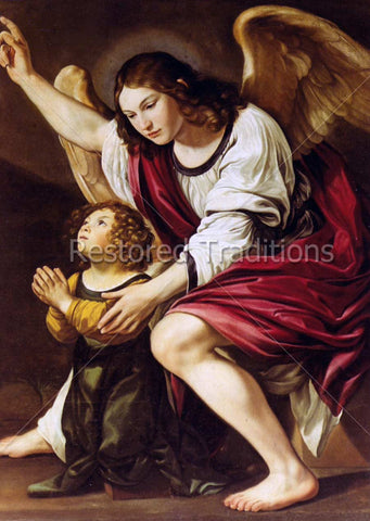 child prays with angel