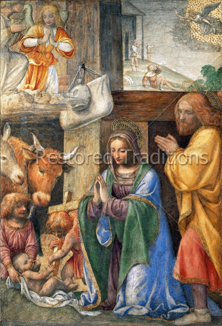 The Holy Family on the First Christmas With Images of the Cross