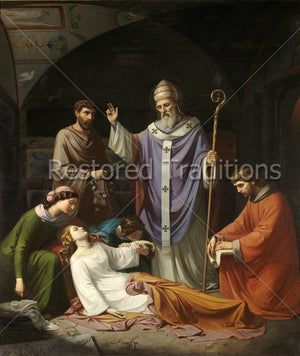 Pope St. Urbanus Supervises Burial of St. Cecilia