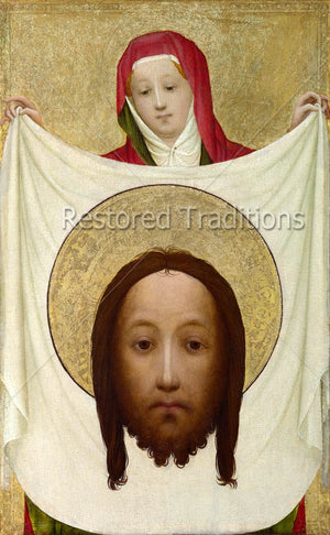Woman holding veil with image of Our Lord