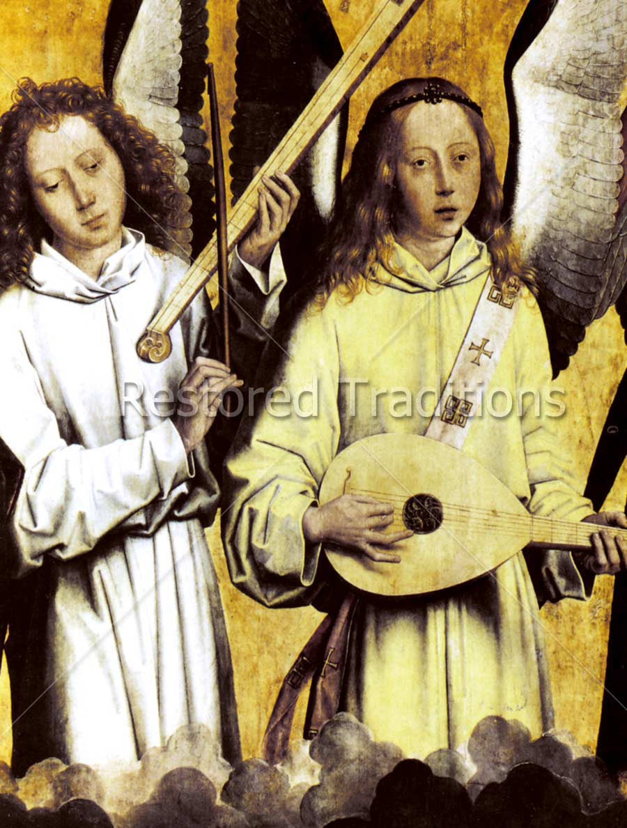 Two Angels Play Musical Instruments