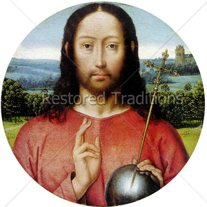Christ holding globe with cross