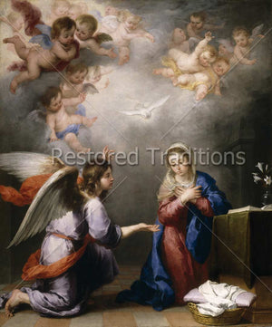 Angel Gabriel and Mother Mary by Murillo
