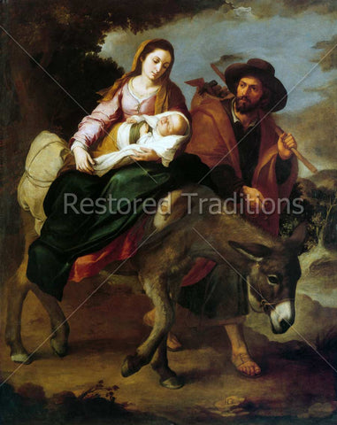 the Holy Family flees Bethlehem