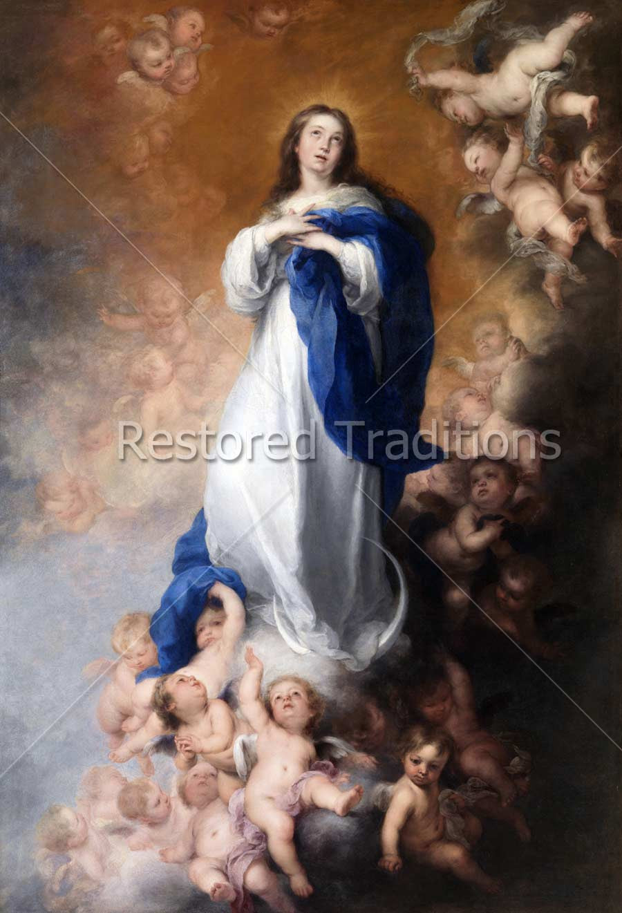 Cherubs in Clouds With Virgin Mary