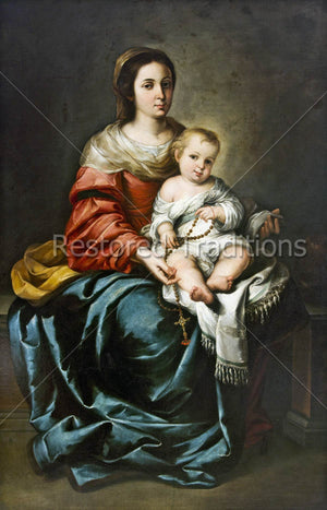 Our Lady with Child Jesus and prayer beads