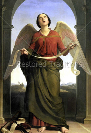 Angel Singing Holding Scroll