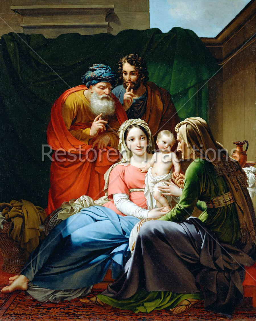 two couples looking at Infant Christ