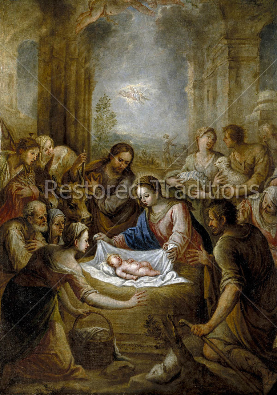 Shepherds Gather Around the Infant Christ and His Parents