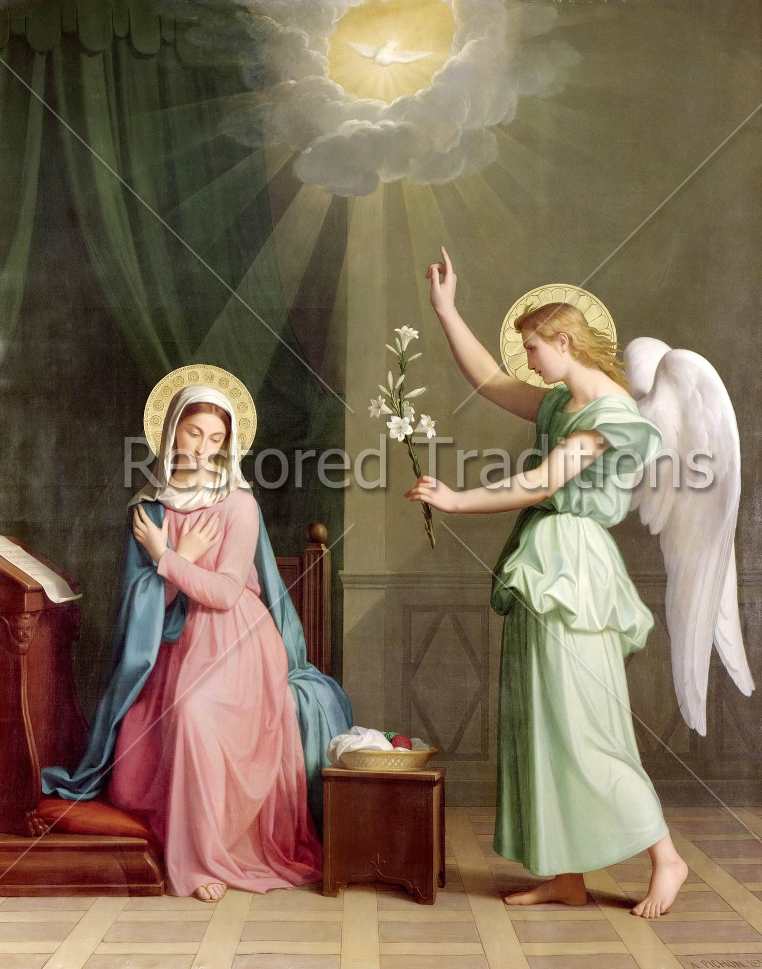 royalty free artwork of the incarnation of jesus at the annunciation