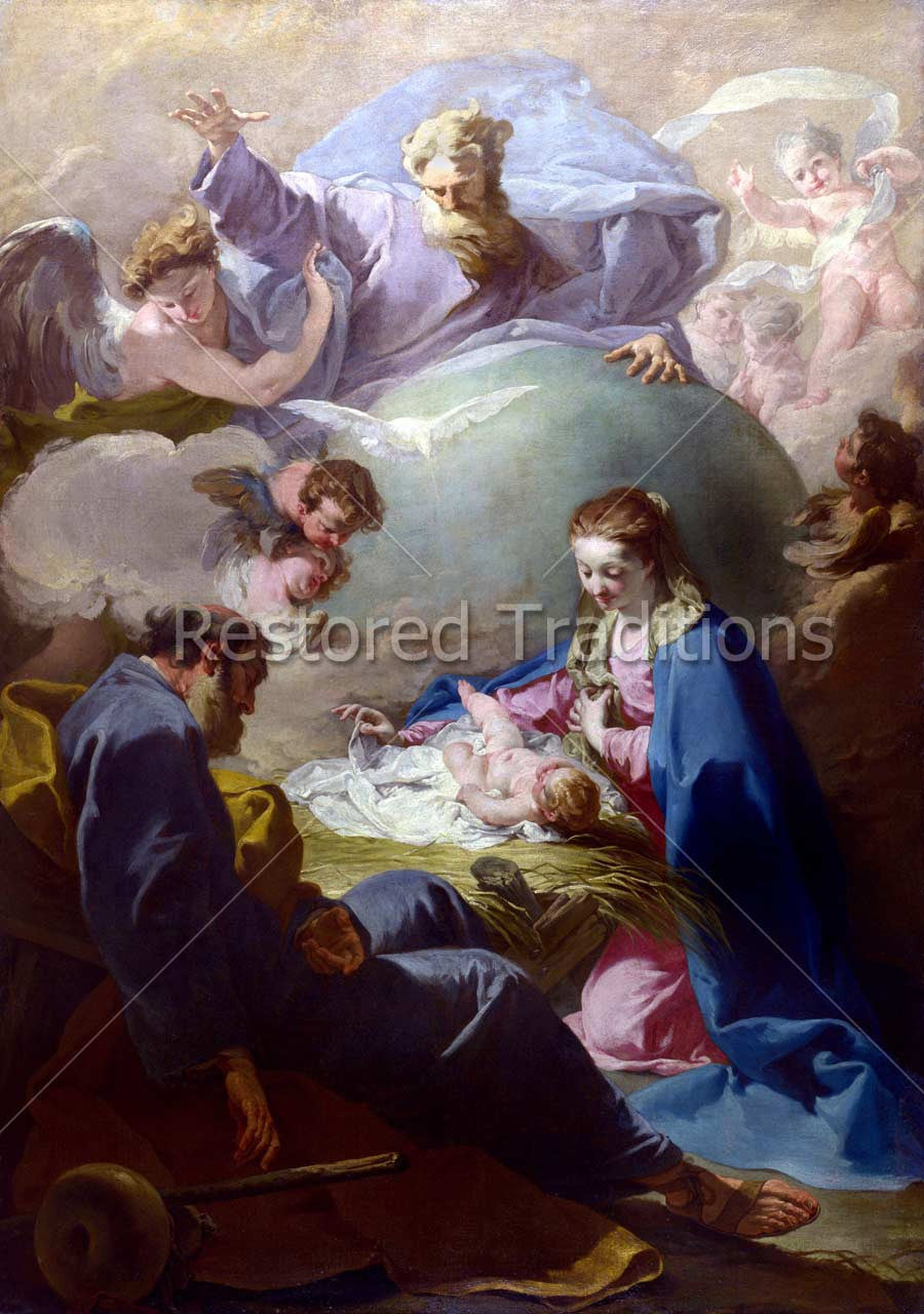 Trinity and angels at birth of Jesus Christ