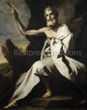 Martyred apostle holding knife up