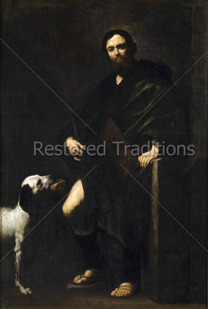 Man and dog with bread in mouth