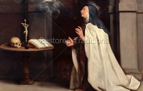 Nun praying before a crucifix