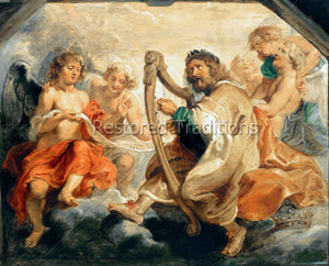 David With Harp and Angels
