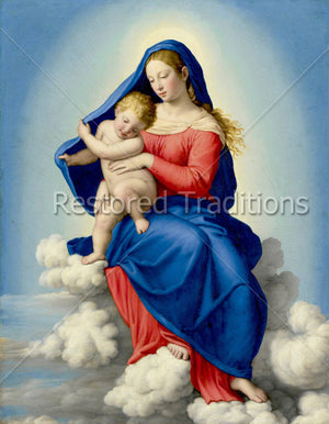 Mary and Jesus in Clouds