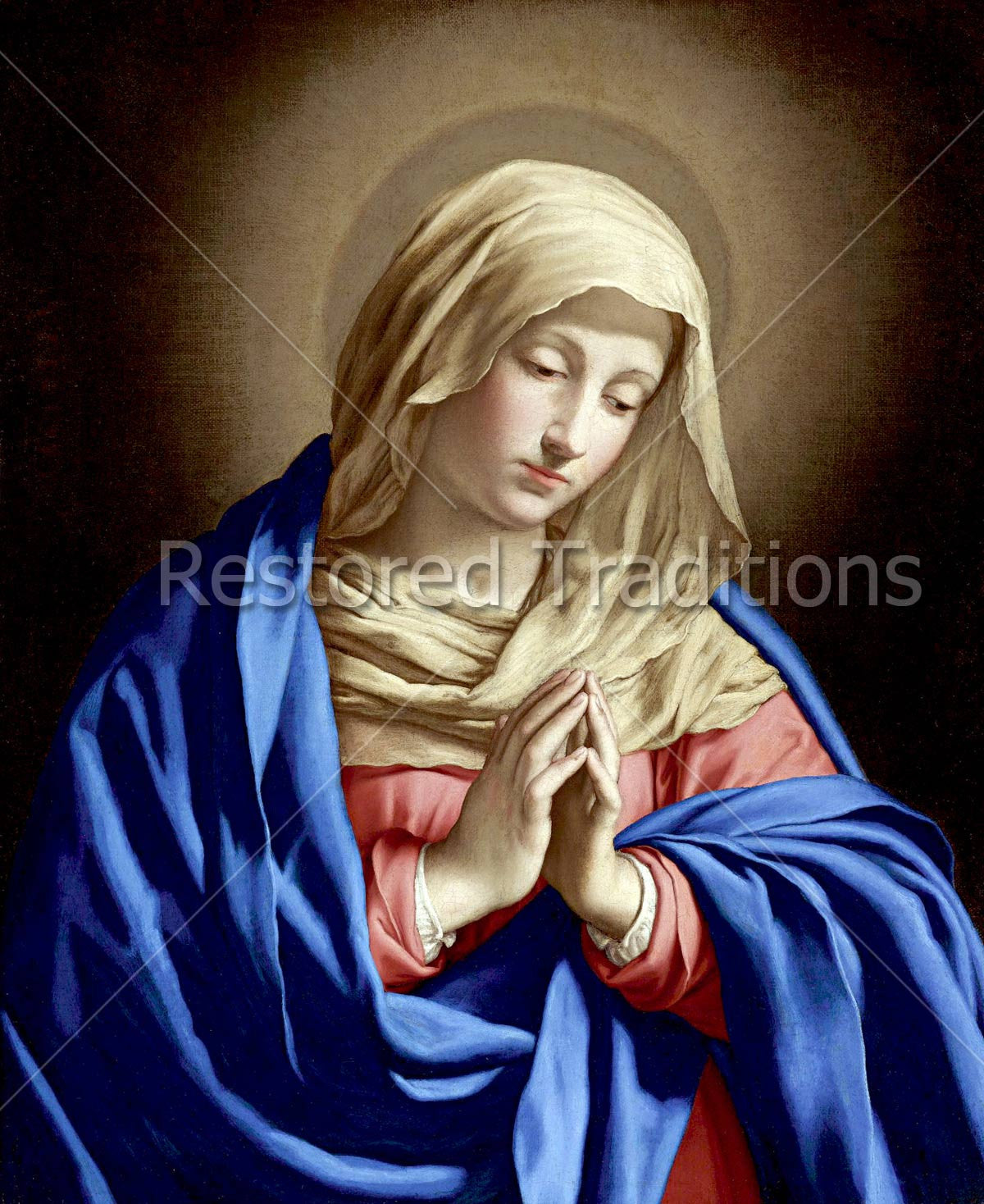 madonna the mother mary with folded hands catholic stock art image