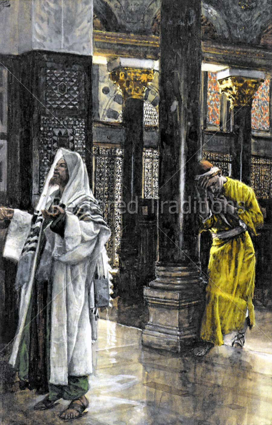 Jewish men in Temple