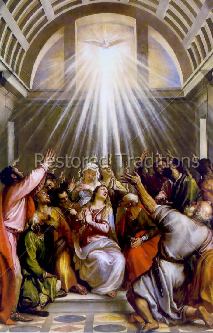 Flames of the Holy Ghost on Pentecost