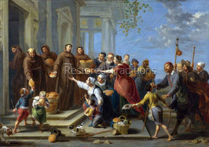 Friars giving bread to the poor