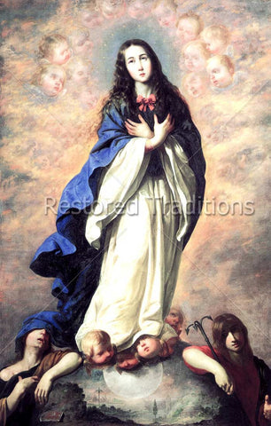 Virgin Mary Standing on World