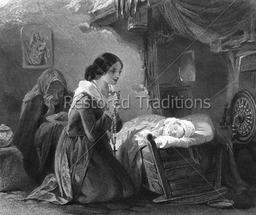 Mother Praying Rosary Over Sleeping Child